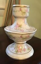 Beautiful Large Antique/Vntg China Candle Holder Pastel Pink & Green Floral Gild