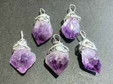 Amethyst Crystal Point Necklace Pendant - Silver Wire Wrapped Purple Gemstone