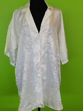 Victoria's Secret Ivory Silky & Sexy Light Button-Up Short Sleeve Robe Size M/L