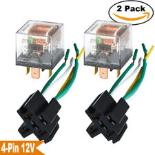 2 Pack 12 VOLT 60 AMP Relays & Sockets Car Wiring 4 Wires SPST Relay 60A 12V USA