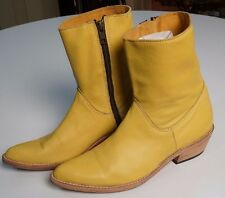 Womens 6 BECCA MOON Yellow Hand-Made Cowboy Western Ankle Boots USA Sold Out