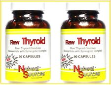 Lot of 2 ( 90 + 90) Capsules RAW THYROID Natural Sources