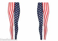 GIRLS USA AMERICAN FLAG LEGGINGS INDEPENDANCE DAY STARS STRIPES KIDS 5-13 YEARS