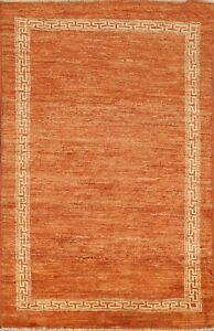 Modern Bordered Gabbeh Oriental Area Rug Hand-Knotted Wool ORANGE Carpet 3x5 New