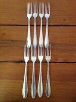 "Set of 8 Vintage Silverplate Bruckmann 90 Dinner Forks Antique Flatware 7"" Long"