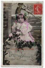 Carte postale ancienne   Bébé   Tas de neige    Bonne année   1922