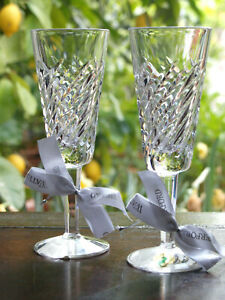 Waterford Crystal Michelle Champagne Flute Set of 2 New made in Ireland Rare
