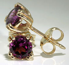14k Yellow Gold Earrings 8-Prong Set Rhodolite Garnet 5mm