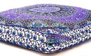 "Elephant Mandala Cotton Floor Cushion Pillow Cover Indian Square Pet Dog Bed 35"""