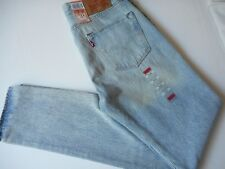 LEVI'S JEANS 501 CT SHORDICH BLEACH DISTRESS BUTTON FLY RIPPED KNEES W31 L34