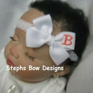 White w/ Coral Monogram Dainty Hair Bow Headband Personalized Preemie 2 Toddler