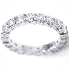 Platinum 1 carat Round Diamond Ring Eternity Band Size 6, F color Vs clarity