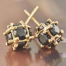 Stunning Solid Gold Filled Black Onyx Ladies Magic-Ball Stud Earrings Jewelry