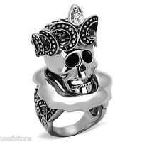 Pirates Skull /& Bones Sword Rhodium EP Mens Crystal Stones Ring