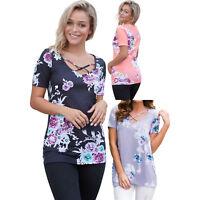 Pink floral crisscross neck detail short sleeve top womens shirt summer sexy