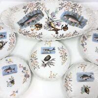 Antique Porcelain Fish Platter Marx & Gutherz Carlsbad Serving Tray 5 Plates