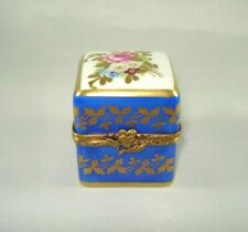 Limoges Trinket Box - Blue Cube w/Flowers - Perfect for Mom!