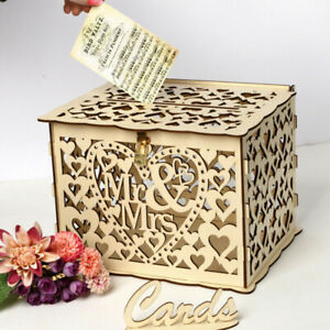 Wedding Card Post Wooden Box Collection Gift Card Boxes & Lock Wedding Decor GA