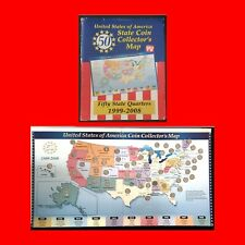 FILLED 1999-2008 US STATE QUARTERS:FULL SET OF 50- COINS IN COLLECTORS ALBUM MAP