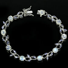 Sterling Silver 925 Genuine Natural Moonstone and Tanzanite Bracelet 71/2 Inch
