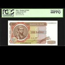 Zaire 1 Zaïre Banque du Zaïre 1979 PCGS Green 68 PPQ Superb Gem UNC