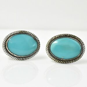 Vintage Sterling Silver Turquoise Cuff Links 11.6G