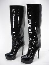 WALTER STEIGER BLACK PATENT LEATHER PLATFORM KNEE HIGH BOOTS WOMEN'S 39 USA 9