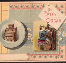 Estey Organ Brattleboro VT 1800's music Victorian Advertising Trade Card Folder