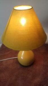 New Lovely Ochre ( Yellow )  Ceramic Table Lamp Light with Conical Shade Bedroom