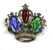 Stunning Vintage Sterling Large Crown Pin Unsigned Designer Piece  RARE   Regal