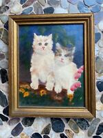 oil painting Kittens Pussy Cats Signed By Artist Sheila Handel Original