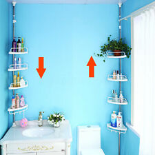 4 Tier Telescopic Bathroom Corner Shower Shelf Rack Adjustable Caddy Organizer