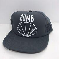 Rip Curl Surf Bomb Shell Ball Cap Trucker Style SnapBack Hat Gray Mesh Back
