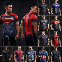 DC Mens Marvel Superhero Compression T-shirt Cycling Sports Gym Shirts Tops Tee