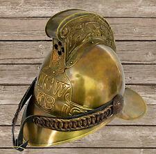 """Original antique 1800's Brass French Firemans Helmet Firefighter SCA W/ LINER"""