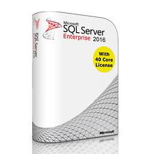 Microsoft SQL Server 2016 Enterprise with 40 Core License, unlimited User CALs