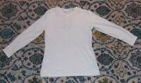 Denim& Co Waffle Knit Long-Sleeve Top Applique Trim Winter White S  A373185