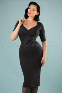 Collectif Black Trixie Pencil Dress Vintage Pinup Style - Size UK6 XS