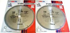"2 ATE PRO 12"" PIRANHA 100T CARBIDE CIRCULAR TABLE COMPOUND MITER SAW BLADES"