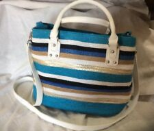SUMMER PURSE WHITE TURQUOISE TAN BLUE GOLD BLACK HAND SHOULDER BAG SILVERTONE