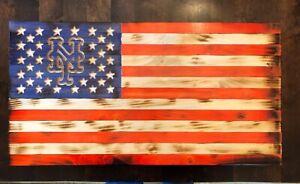"Rustic Charred ""Torched"" Wood NY METS FLAG VERY COOL, Bonus Vintage 80's Program"