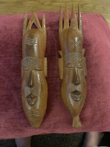 Pair Of Hanging Wooden Wall Carved Faces African