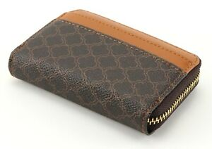 PURSE brown patterned small zip COIN purse with CARDS slots wallet with GIFT BOX