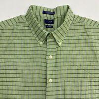 Arrow Button Up Shirt Men's Size 2XLT 19.5 Short Sleeve Green Plaid Cotton Blend
