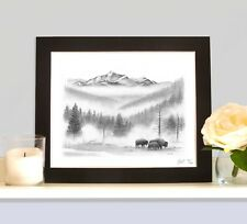 Bison in the Snow Art Print Drawing Picture MOUNTED Present Gift Yellowstone