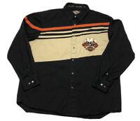 HARLEY DAVIDSON Men's Size XL Long Sleeve Logo Button Up Shirt 4 Aces