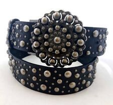EXPRESS Women's Black Leather Studded Belt w Decorative hook style Buckle - M