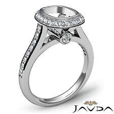 18k White Gold Cushion Diamond 0.8Ct Engagement Halo Bezel Set Semi Mount Ring