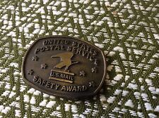 Vintage USPS U.S. Mail Brass Safety Award Belt Buckle