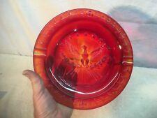 Mid-Century Amberina Glass Ashtray American Eagle Seal of the USA Patriotic